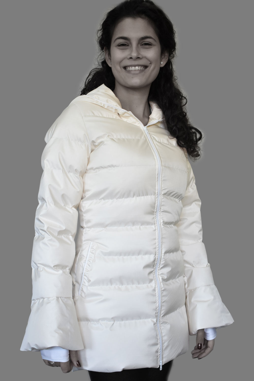 Пухено яке Белла, бяло, фронтално