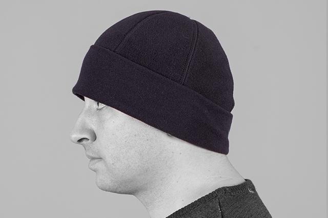 Поларена шапка, тип тиква, черна, странично