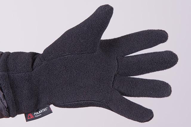 Поларена ръкавица с 5 пръста, черна, отвътре