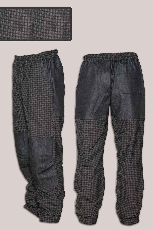 Панталони с платка, тъмно сиво каре