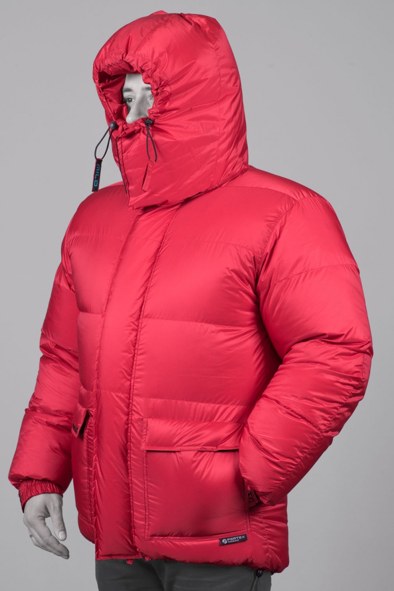 Himalaia jacket - front closed with closed hood