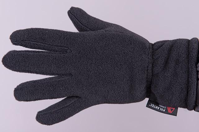 Поларена ръкавица с 5 пръста, черна, отвън
